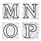 M, N, O, P alphabet letters with floral elements Stock Photos