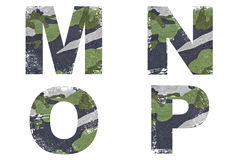M, N, O, P Alphabet From Military Fabric Texture. Royalty Free Stock Photography