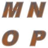M, N, O, P Letters of brown color. Design of old wood. Vector. Illustration stock illustration
