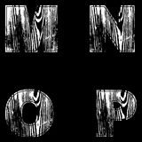 M, N, O, P, Letters White on a black background. Wood Design. Vector. M, N, O, P, Letters White on a black background. Wood Design Vector illustration royalty free illustration