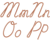 M, N, O, P Vector Letters Made of Metal Copper Wire. Stock Photography