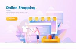 M?n som anv?nder mobil shopping Folk som g?r i lagret som ser som en minnestavladator On-line shoppingbegrepp royaltyfri illustrationer