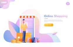 M?n som anv?nder mobil shopping Folk som g?r i lagret som ser som en minnestavladator On-line shoppingbegrepp stock illustrationer