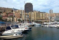 Mônaco - arquitetura da cidade e porto fotografia de stock