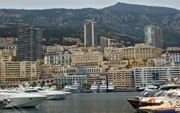 Mônaco - arquitetura da cidade e porto Hercules fotos de stock royalty free