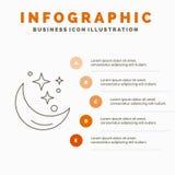 M?ne, natt, stj?rna, v?der, utrymmeInfographics mall f?r Website och presentation Linje gr? symbol med orange infographic stil stock illustrationer