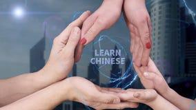 M?nner ` s, Frauen ` s und Kind-` s Handshow ein Hologramm lernen Chinesisch lizenzfreies stockbild