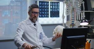 M?nnlicher Doktor, der menschliches Skelettmodell analysiert stock footage