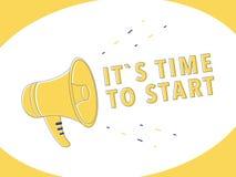 M?nnliches Handholdingmegaphon mit ihm s-Zeit, Spracheblase zu beginnen lautsprecher Fahne für Geschäft, Marketing, Anzeige lizenzfreie abbildung