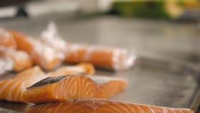 M?nskliga h?nder tar ett stycke av den skivade laxfil?n Förbereda att laga mat för fisk stock video