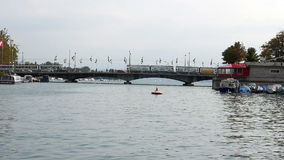 Münsterbrücke crossing the Limmat river stock footage