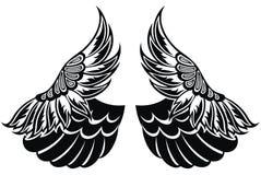 m?nstrade vingar Totem tatueringdesignfågel ocks? vektor f?r coreldrawillustration royaltyfria bilder