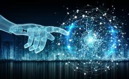 M?o azul do rob? de Wireframed que toca na rendi??o digital da rede 3D da esfera ilustração stock