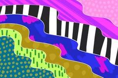M?o criativa do fundo da arte tirada em cores vibrantes collage Vetor ilustração do vetor