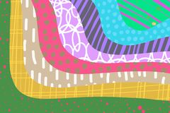 M?o criativa do fundo da arte tirada em cores vibrantes collage Vetor ilustração stock