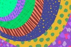 M?o criativa do fundo da arte tirada em cores vibrantes collage Vetor Texturas para o convite da tampa do cartão do cartaz da ban ilustração stock