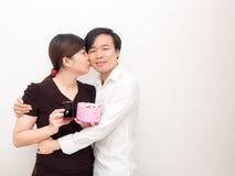 Młoda Azjatycka para na walentynki ` s dniu Fotografia Stock