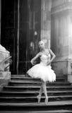 Młoda baleriny kobieta pozuje na schodkach Fotografia Royalty Free