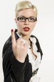 Młoda Biznesowa kobieta z nastroszonym forefinger Fotografia Royalty Free