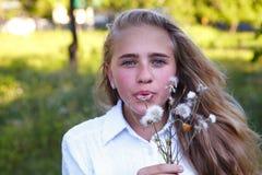 Młoda dziewczyna i dandelion Fotografia Royalty Free