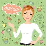 Młoda dziewczyna mówi Meow Zdjęcie Stock