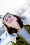 Młoda dziewczyna na spacerze w zimie Zdjęcie Stock