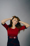 Młoda dziewczyna w czerwonej sukni Zdjęcie Royalty Free