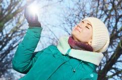 Młoda dziewczyna w zima Fotografia Royalty Free
