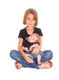 Młoda dziewczyna z trzy tygodni starym dzieckiem Zdjęcie Royalty Free