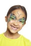 Młoda dziewczyna z twarz obrazu motylem Fotografia Royalty Free