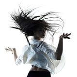 M?oda kobieta baletniczego tancerza t?a sylwetki nowo?ytny taniec odizolowywaj?cy bia?y cie? obrazy royalty free