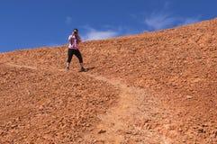 Młoda kobieta bierze obrazki w Czerwonym jarze Utah Zdjęcia Stock