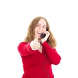 Młoda kobieta dzwoni somebody Zdjęcia Stock