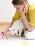 Młoda kobieta i kot Obrazy Stock