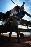 Młoda kobieta lotnik Zdjęcia Royalty Free