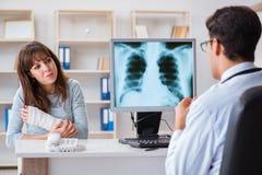 Młoda kobieta odwiedza radiologa dla promieniowanie rentgenowskie egzaminu Obrazy Stock