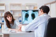 Młoda kobieta odwiedza radiologa dla promieniowanie rentgenowskie egzaminu Obraz Stock