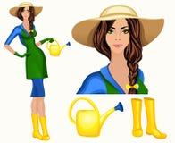 Młoda kobieta ogrodowy pracownik Zdjęcia Stock