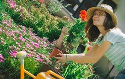 Młoda kobieta pracuje w kwiatu ogródzie Fotografia Stock