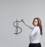 Młoda kobieta rysunkowy dolarowy symbol Obraz Stock