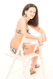 Młoda kobieta w bikini pozach Obrazy Royalty Free