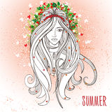 Młoda kobieta w lato nastroju jako symbol lato Obraz Royalty Free