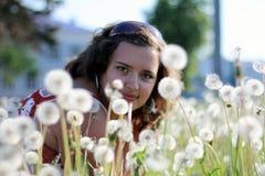 Młoda kobieta w polu z wiele dandelions Zdjęcie Stock