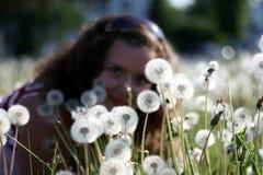 Młoda kobieta w polu z wiele dandelions Obrazy Stock