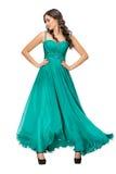 Młoda kobieta w wieczór zieleni sukni Fotografia Royalty Free