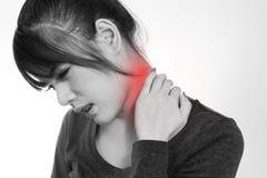 Młoda kobieta z bólem w szyi Obrazy Royalty Free