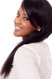 Młoda kobieta z czarnej skóry odosobnionym portretem Fotografia Stock
