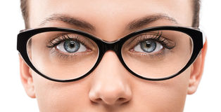 Młoda kobieta z eyeglasses Obrazy Royalty Free