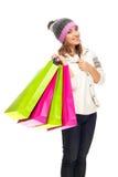 Młoda kobieta z torba na zakupy Fotografia Royalty Free
