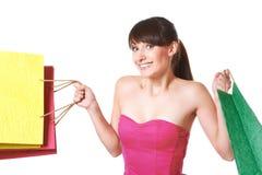Młoda kobieta z torba na zakupy Zdjęcia Royalty Free
